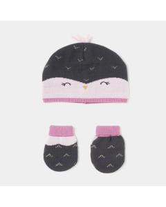 Set căciulă + mănuși bebe 6/24 luni