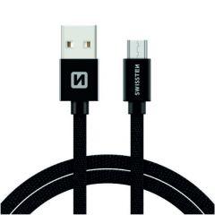 Cablu de date/incarcare Swissten USB 2.0 - microUSB, lungime 3 m, design textil, incarcare rapida, negru