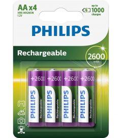 Baterii reincarcabile Philips R6B4B260/10, 2600 mAh, AA NiMH, set 4 bucati, blister