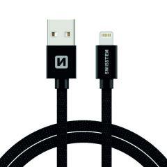 Cablu de date/incarcare Swissten, pentru Apple, lungime 1.2 m, design textil, incarcare rapida, negru
