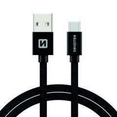 Cablu de date/incarcare Swissten USB 2.0 - USB-C, lungime 3 m, design textil, incarcare rapida, negru