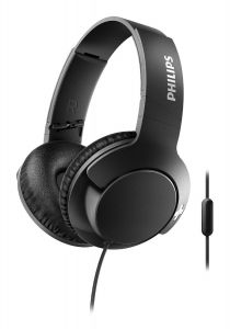 Casti audio Philips Bass+ SHL3175BK/00, microfon incorporat, pliere compacta, izolare fonica, lungime cablu 1.2m, Negru