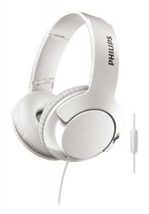 Casti audio Philips Bass+ SHL3175WT/00, microfon incorporat, pliere compacta, izolare fonica, lungime cablu 1.2m, Alb