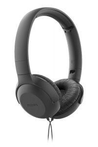 Casti audio Philips TAUH201BK/00, atasare pe ureche, lungime cablu 1.2m, microfon incorporat, design pliabil, greutate mica, Negru