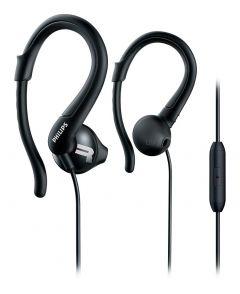 Casti sport Philips SHQ1255TBK/00, IPX2, microfon integrat, izolare fonica, lungime 1m, conector placat cu aur, Negru