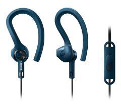 Casti sport Philips ActionFit SHQ1405BL/00, protectie Kevlar, IPX4, microfon integrat, izolare fonica, lungime 1.2m, conector placat cu aur, ultrausoare, Albastru