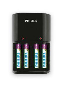 Incarcator acumulatori Philips SCB1450NB/12, 4 acumulatori AAA/AA, 800 mAh, indicatori LED, negru