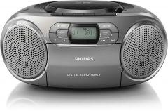 Microsistem audio Philips AZB600/12, CD, FM, Dab+, AUX, 2W RMS , caseta, Argintiu