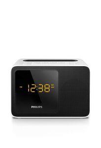 Radio cu ceas Philips AJT5300W/12, FM, Bluetooth, 2.7W, port de încărcare USB, Alb/Negru