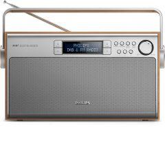 Radio portabil Philips AE5220/12, FM, Dab+, reglare automata digitala, 5W, LCD, Argintiu/Maro