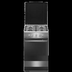 Aragaz cu gaz Hansa FCGX58099, 50 cm, 4 arzatoare, 2 functii, grill, aprindere electrica, siguranta, capac email, 58 L, clasa A, inox