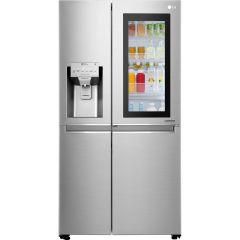 Side by Side LG GSX961NSAZ, No Frost, InstaView, Door in Door, 601 L, Clasa A++, Dispenser apa, Argintiu