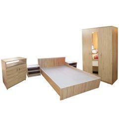 Dormitor Soft Sonoma cu pat pentru saltea 160x200 cm