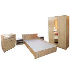 Dormitor Soft Sonoma cu pat pentru saltea 140x200 cm