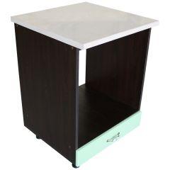 Corp pentru cuptor incorporabil cu sertar Zebra, wenge/MDF Fistic lucios, cu blat Travertin, 60 x 85 x 60 cm