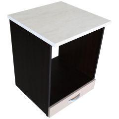Corp pentru cuptor incorporabil cu sertar Zebra, wenge/Cappuccino lucios, cu blat Travertin, 60 x 85 x 60 cm