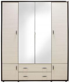 Dulap Torino cu oglinzi, 165 x 54 x 202 cm, Wenge / Brad