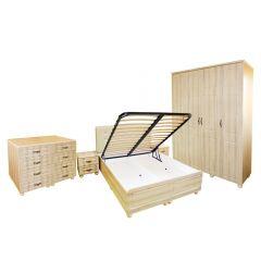 Dormitor Dynasty MDF Sonoma cu pat pentru saltea 140x200 cm
