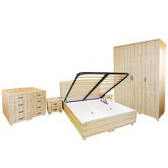 Dormitor Dynasty MDF Sonoma cu pat pentru saltea 180x200 cm
