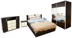 Dormitor Laguna cu pat 140x200 cu somiera rabatabila, Wenge/Vanilie