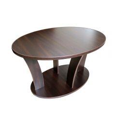 Masuta cafea Ovala cu role, wenge, 94 x 54 x 64 cm