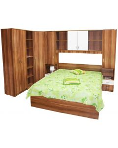 Dormitor Nora pe colt cu pat 160x200 cm, Prun / Alb