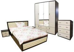 Dormitor Torino cu pat cu somiera metalica rabatabila pentru saltea 160x200 cm, Wenge / Brad