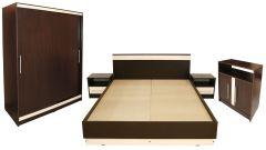 Dormitor Verona cu pat 160x200 cm, Wenge / Vanilie