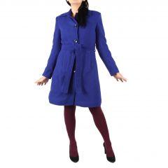Palton Citrine Autumn Lady Casual, Albastru, Uni, Stofa lana, Cordon in talie