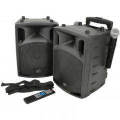 Set 2 boxe stereo active portabile Karaoke QTX Sound PAV8, 100 Wrms, CD DVD player, USB, MP3, Bluetooth, Microfoane UHF