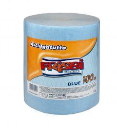 Rola prosop hartie FRISBI Blue, 3 straturi, 1 albastru+2 albe, 100 m, 100% celuloza pura