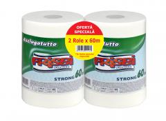 Role prosoape de hartie FRISBI Forte, 2 straturi, 2buc x 60 m, alb, 100% celuloza pura
