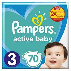 Scutece Pampers Active Baby Marimea 3, 6 -10 kg, 70 bucati