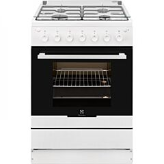 Aragaz pe gaz Electrolux EKG61182OW, 4 arzatoare, aprindere electrica plita si cuptor, grill, rotisor, 60 cm, clasa A, alb