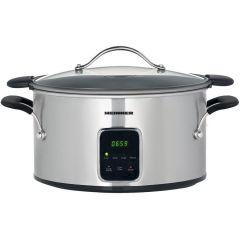 Heinner Slow Cooker HSCK-T6IX, 6 L, Vas Teflonat, Control Electronic, 3 Setari temperatura, Timer, Inox