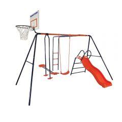Spatiu de joaca pentru copii Atlas MVS, cu leagan, tobogan, balansoar, scara si cos de baschet