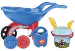Roaba din plastic pentru copii Androni Pompierul Sam cu galetusa, stropitoare si alte accesorii de plaja
