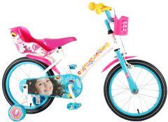 """Bicicleta pentru fete 16"""" inch, cu scaun pentru papusi, roti ajutatoare si cosulet, Soy Luna"""