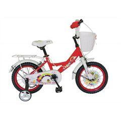 Bicicleta 14 inch rosie ,roti ajutatoare,cauciuc cu camera,sonerie,cos jucarii