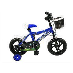 Bicicleta 12 inch Rich albastra roti cauciuc cu camera,roti ajutatoare,sonerie si cosulet jucarii