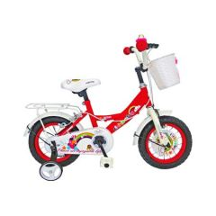 Bicicleta Rich 12 inch rosie ,roti cauciuc cu camera,roti ajutatoare,portbagaj si cosulet