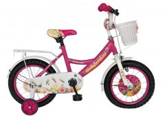Bicicleta 14 inch roz roti cauciuc cu camera,cos jucarii roti ajutatoare