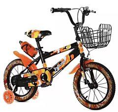 Bicicleta copii Premium cu pedale,roti 16 inch,roti ajutatoare cu luminite,cos pentru jucarii, suport bidon apa,varsta 4-8 ani,