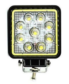 Proiector LED Auto Offroad Cu Angel Eyes 27W/12V-24V, 1980 Lumeni, Patrat, Spot Beam 60 Grade