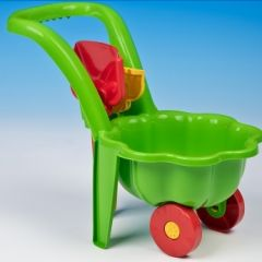 Carucior verde cu lopatica si grebla