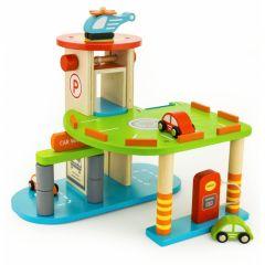 Garaj din lemn Viga Toys pe doua nivele cu accesorii