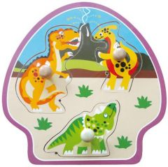 Baby Mix Puzzle din lemn 10m+ Dino 3 piese