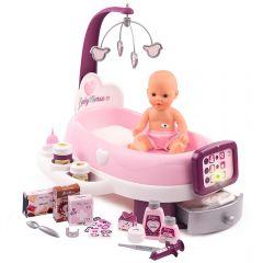 Set cadita si accesorii pentru papusi Smoby Baby Nurse Nursery mov