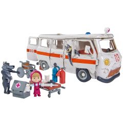 Masina Simba Masha and the Bear Ambulance cu accesorii
