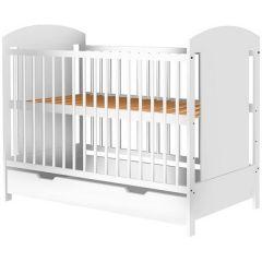 Patut copii din lemn Hubners Kamilla 120x60 cm alb cu sertar